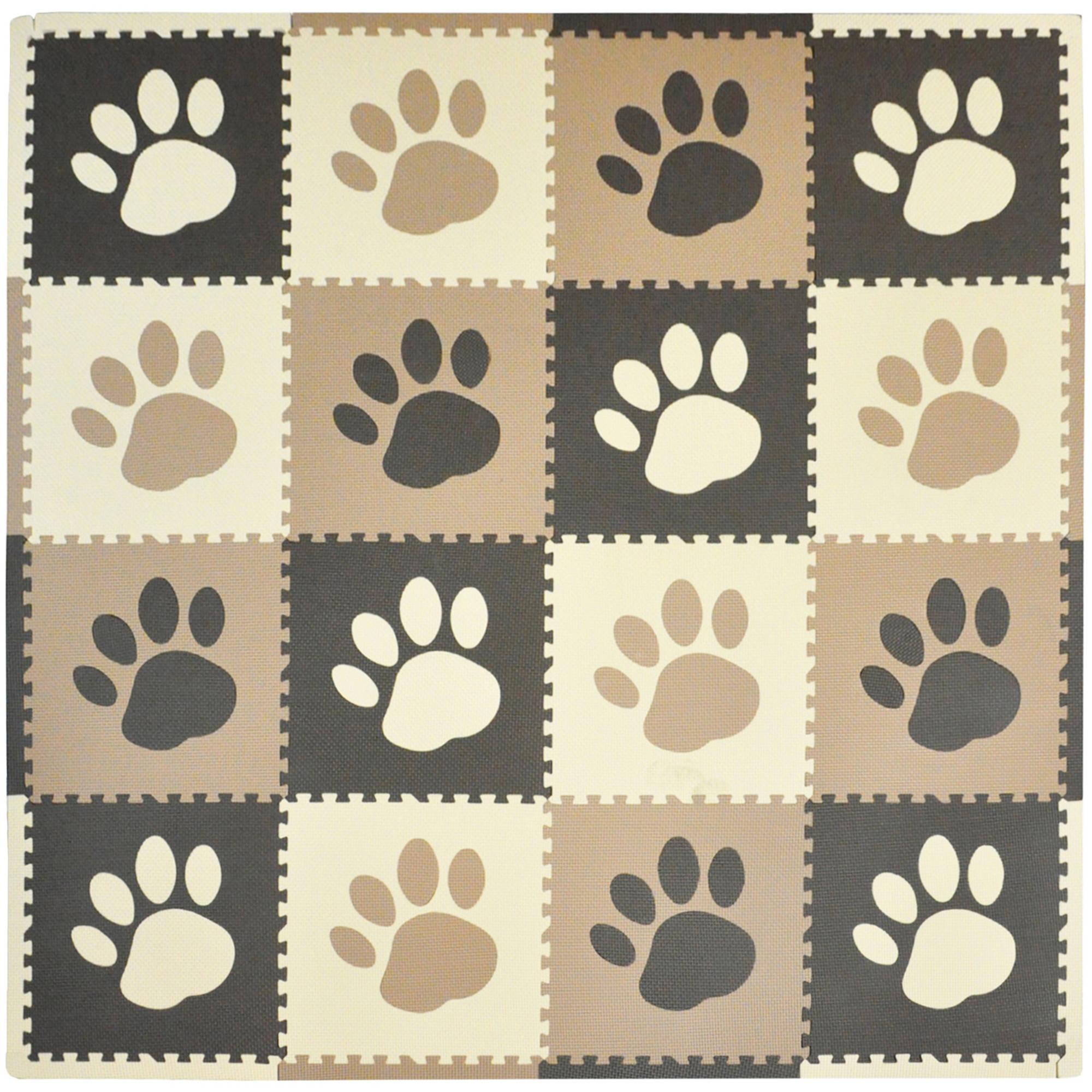 Tadpoles Playmat Set, 16pc, Pawprint, Brown