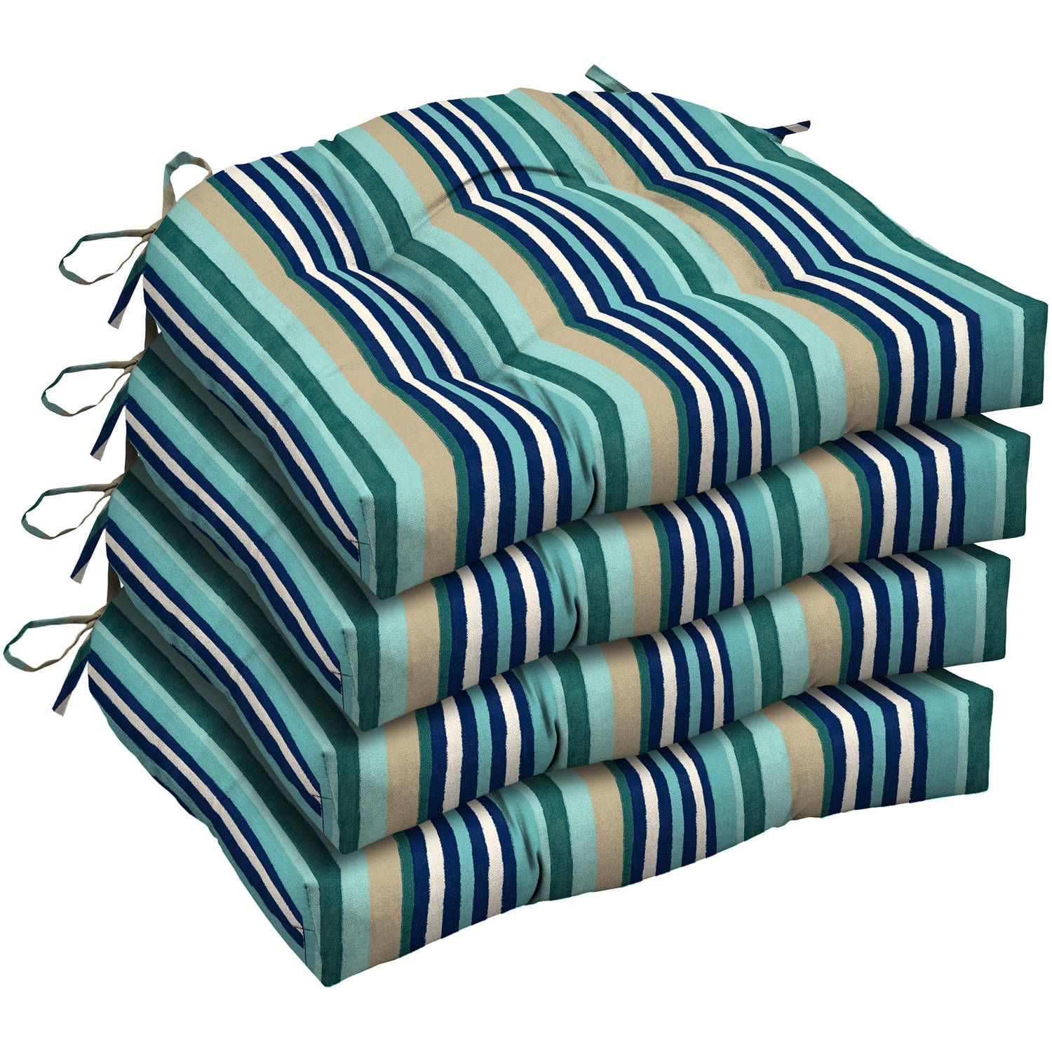 Mainstays Outdoor Patio Wicker Seat Cushion, Set of Four, Multiple Patterns by Arden Companies
