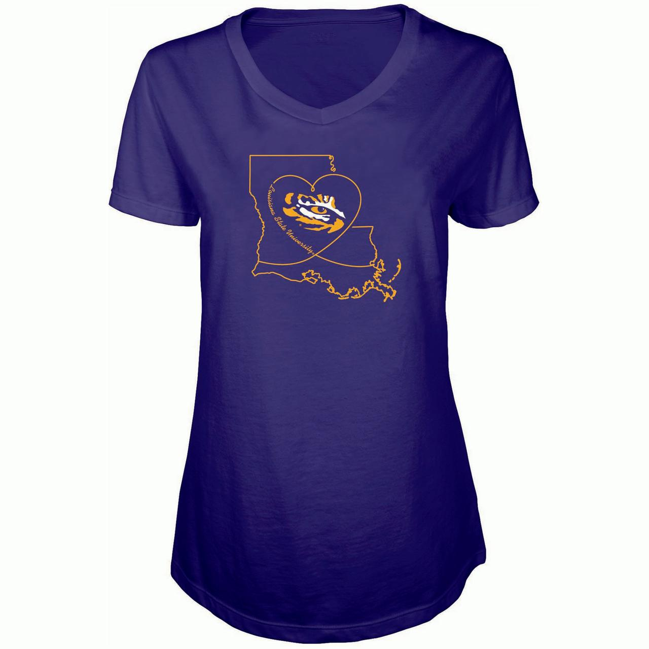Women's Russell Purple LSU Tigers State V-Neck T-Shirt