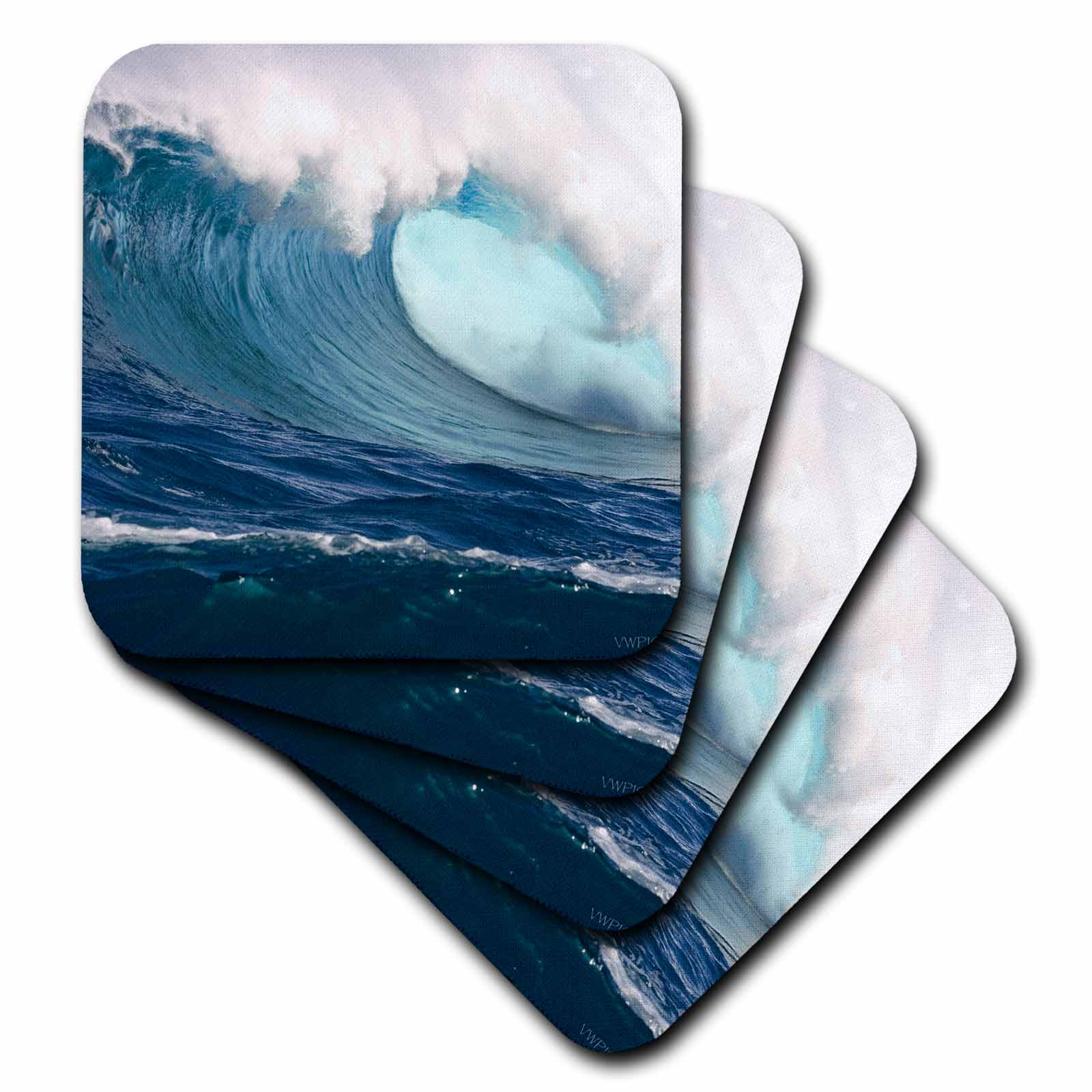 3dRose 60 foot surf crashes on Mauis Northshore at Peahi (Jaws), Soft Coasters, set of 4