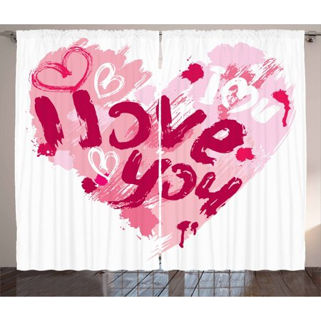 I Love You Curtains 2 Panels Set, Paintbrush Love Message Best Friends Forever February Wedding Engaged Image, Window Drapes for Living Room Bedroom, 108W X 90L Inches, Pale Pink Ruby, by