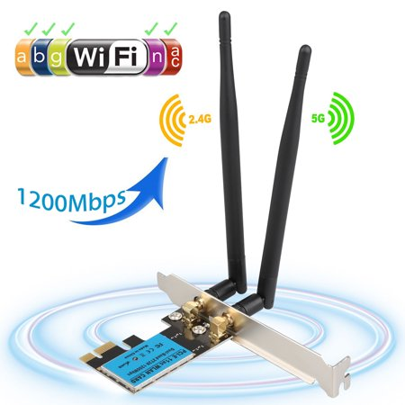 Wireless wifi Card, EEEKit 1200Mbps 2.4GHz/5GHz Dual Band WIFI Adapter 802.11 AC a/b/g/n Wireless Network Card Antenna for Computer PC Win XP/7/8/10/8.1 ()