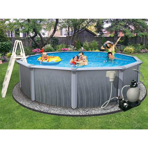 "Click here to buy Blue Wave Round 15' x 52"" Deep Martinique 7"" Top Rail Metal-Walled Swimming Pool by Blue Wave Products."