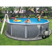 Blue Wave Martinique 24 ft Round 52-in Deep 7-in Top Rail Metal Wall Swimming Pool Package
