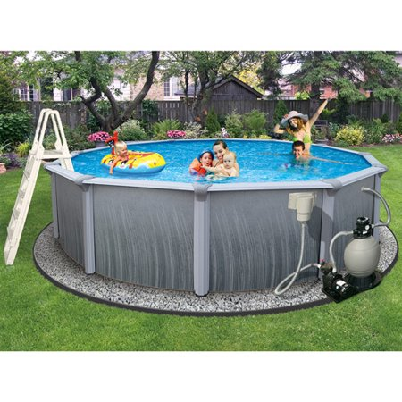 Blue Wave Martinique Round 52-in Deep 7-in Top Rail Metal Wall Swimming Pool (Complete Round Pool Package)