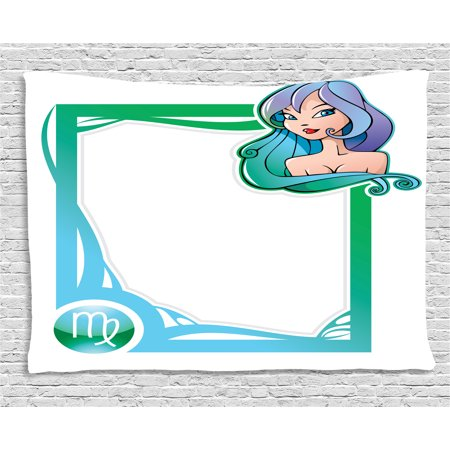 - Zodiac Virgo Tapestry, The Sixth Sign from the Series of Zodiac Frames in Cartoon Style with a Girl, Wall Hanging for Bedroom Living Room Dorm Decor, 80W X 60L Inches, Multicolor, by Ambesonne
