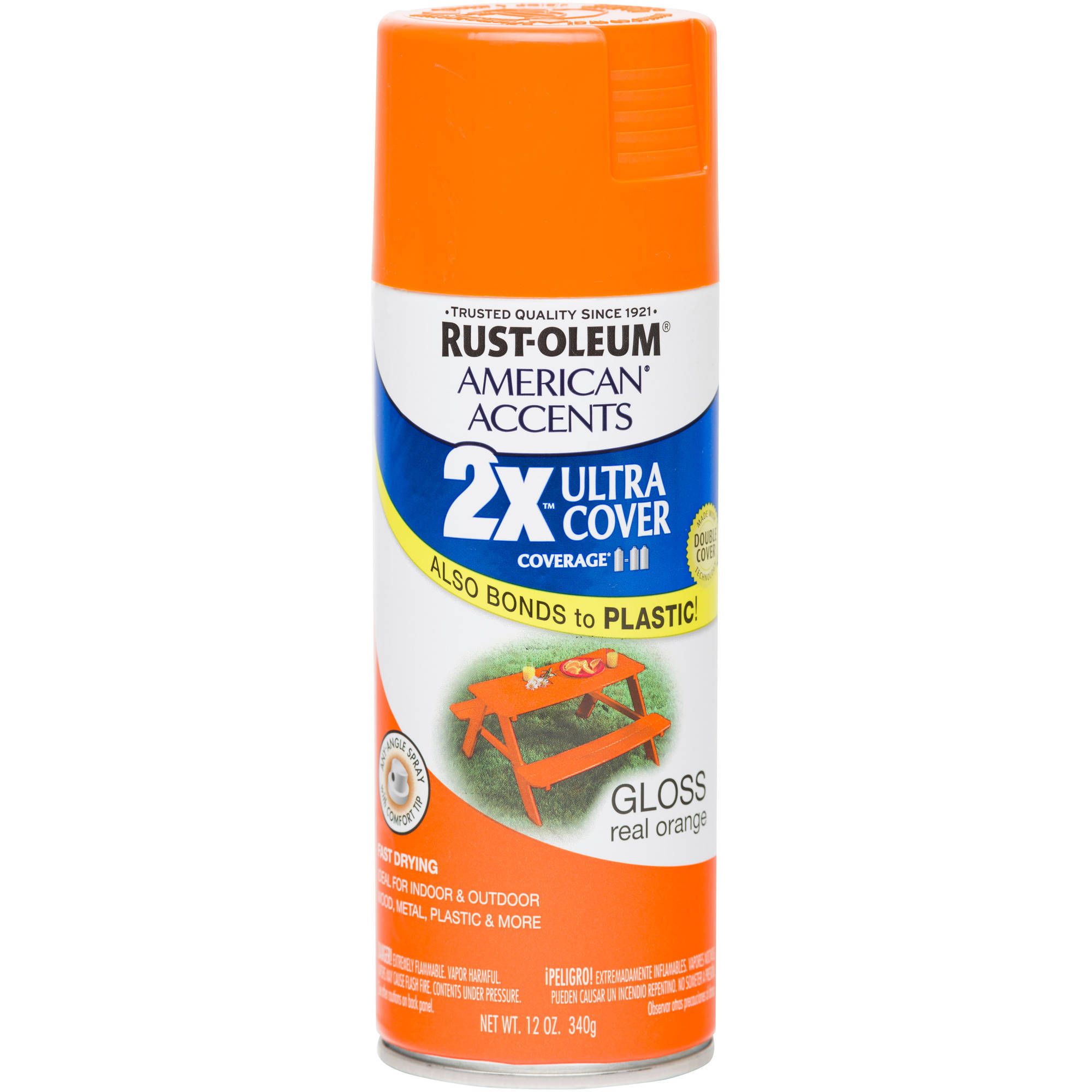 Rust-Oleum American Accents Ultra Cover 2X Gloss Real Orange Spray Paint and Primer in 1, 12 oz