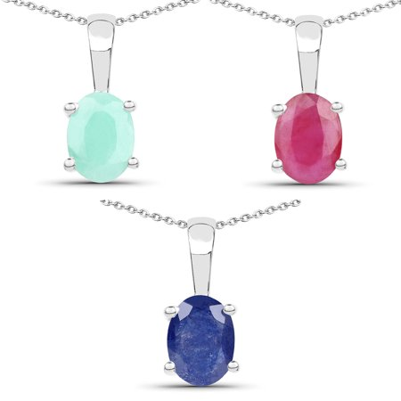 - 925 Sterling Silver Emerald, Glass Filled Ruby and Glass Filled Sapphire Pendant (2.65 Carat)