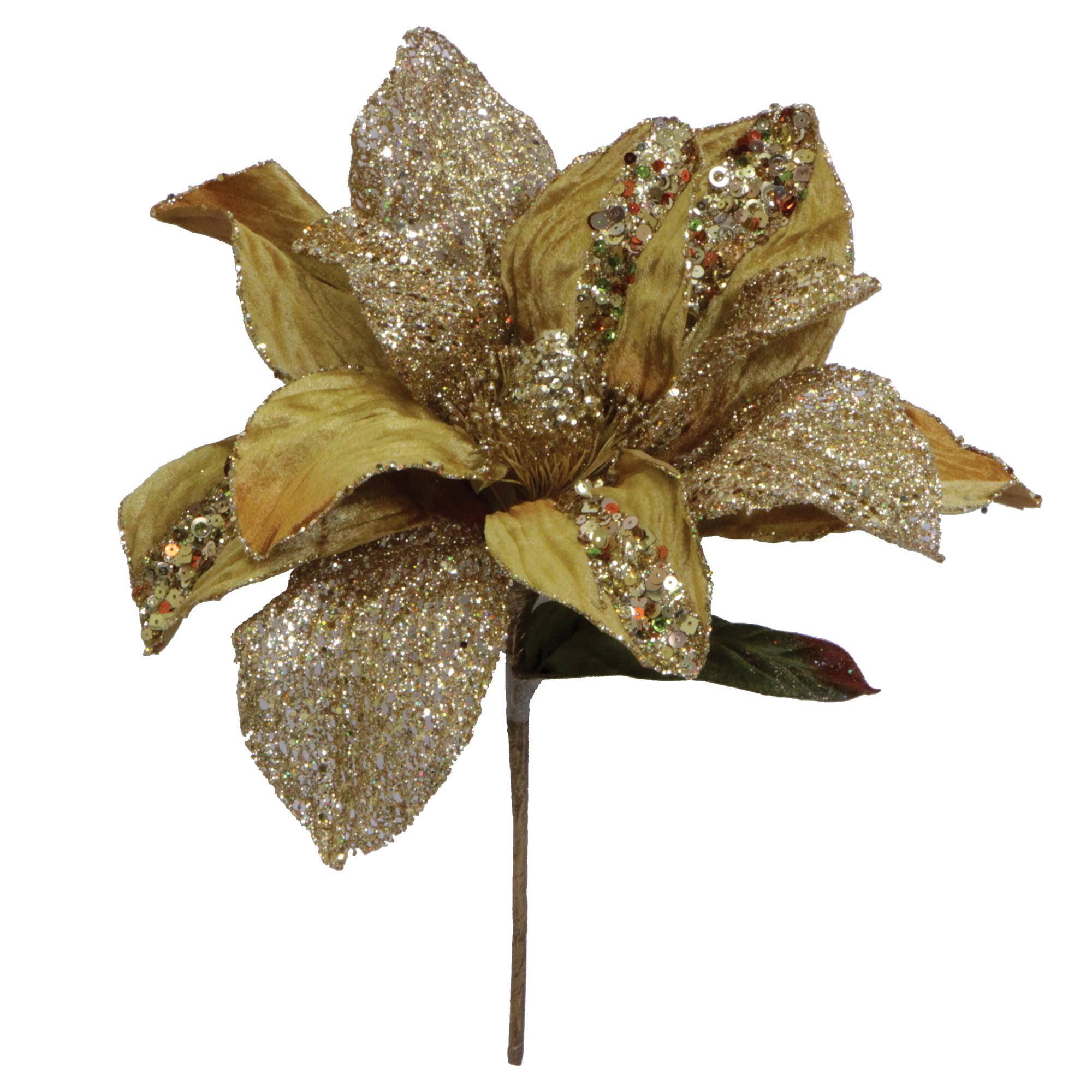 "Vickerman 31"" Gold Glitter Magnolia 13"" Flower"