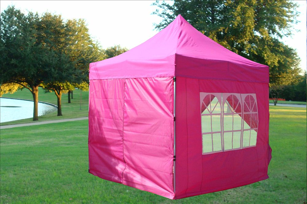 8 X8 Pink Ez Pop Up Canopy Party Tent Instant Gazebo 100