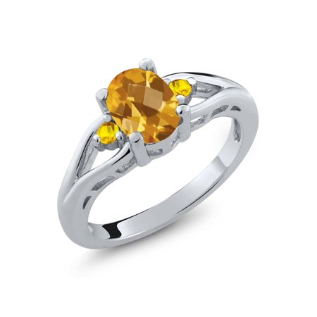 1.35 Ct Oval Checkerboard Yellow Citrine Yellow Sapphire 925 Silver Ring ()