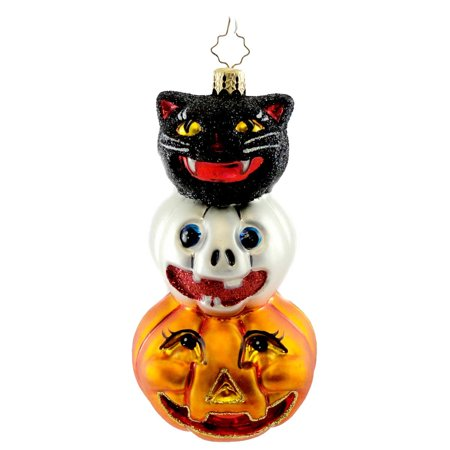 Christopher Radko SPOOKY SIDEKICKS Blown Glass Ornament Halloween Black Cat Jo](Small Glass Halloween Ornaments)
