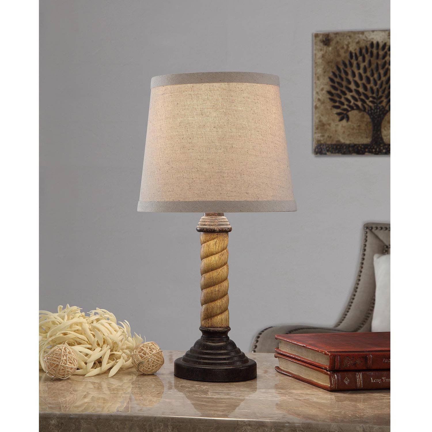 Mainstays Twist Accent Lamp, Two-Toned Wood Look Finish by Mastercraft Distribution USA Inc