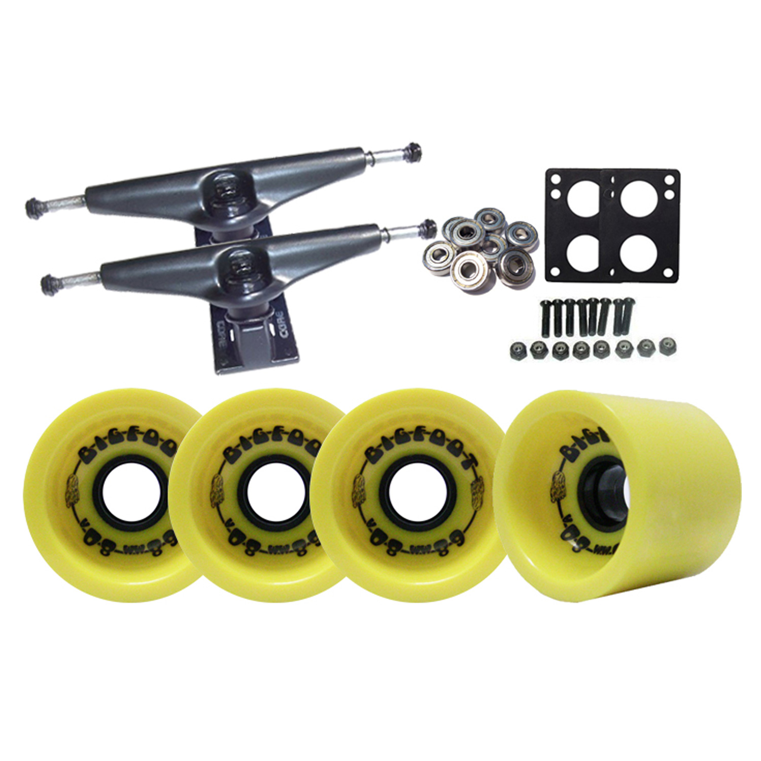 LONGBOARD TRUCKS PACKAGE   BIGFOOT YELLOW FUNNEL WHEELS