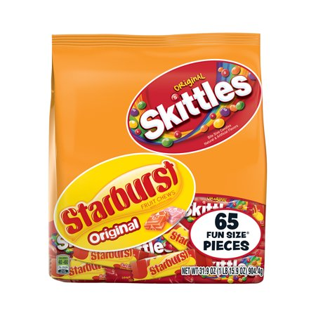 Skittles & Starburst Fruity Candy, Fun Size Variety Mix Bag, 31.9 Ounce (Cheer Candy Bouquet)