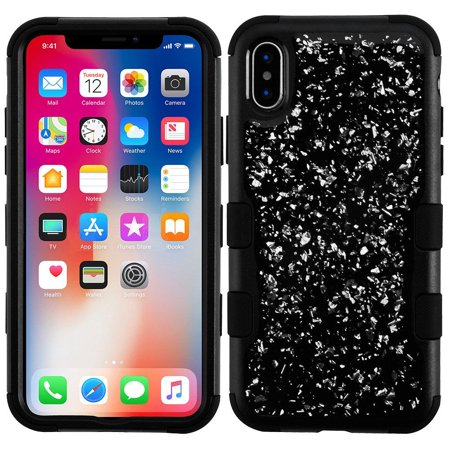 timeless design 81ba3 21803 iPhone X Case Glitter, iPhone X Glitter Case, iPhone X Case, by Insten Tuff  Flakes Dual Layer Hybrid Case Cover For Apple iPhone X, Black/Silver ...