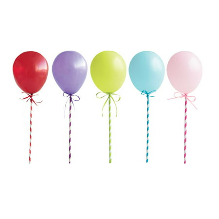 Mini Balloon Stick Cake Toppers, 5ct (Mini Soccer Cake Topper)