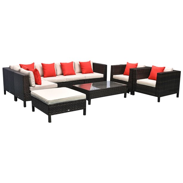 Outsunny 9 Piece Rattan Wicker Outdoor, Outsunny Outdoor Furniture