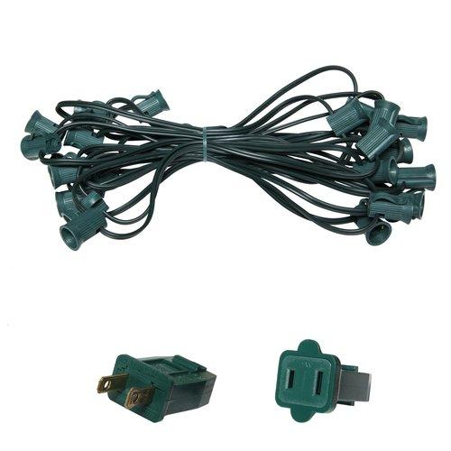 """C7 Light Stringer, 25 Ft. Length, 15"""" Spacing, 5 Amp SPT1 Green Wire"""