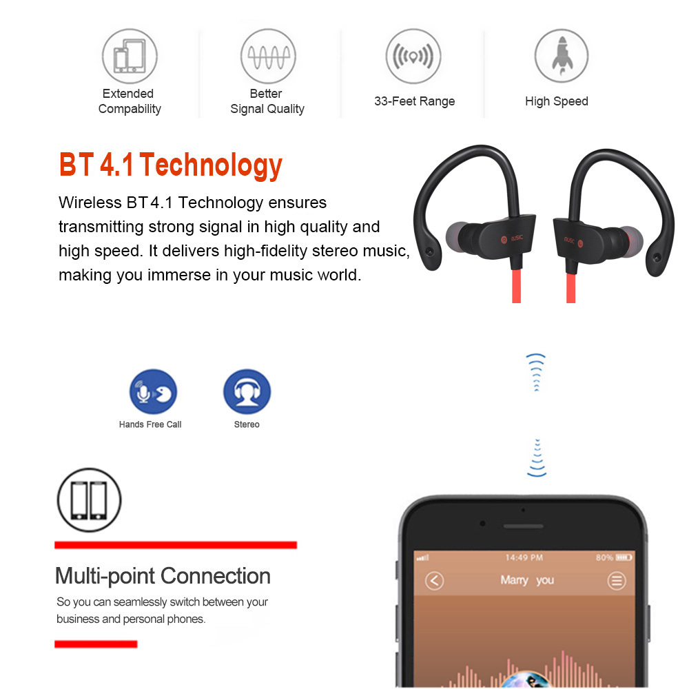 56S Wireless Earphone In-Ear Sports Sweatproof Earphones Earbuds Headset  with Mic for Smartphone Tablet Black
