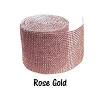 Rose Gold 24 Row Diamond Rhinestone Ribbon Trim Mesh Wrap 10 Yards - Wedding