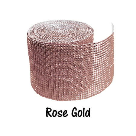 Rose Wrap - Rose Gold 24 Row Diamond Rhinestone Ribbon Trim Mesh Wrap 10 Yards - Wedding