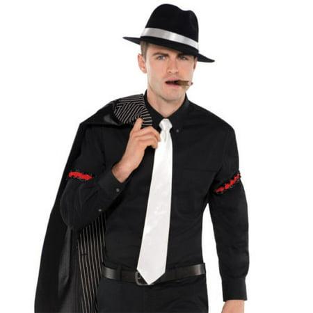 Roaring 20's Gangster Neck Tie White Satin Adult Men Halloween Costume (Plus Size Roaring 20's Costumes)
