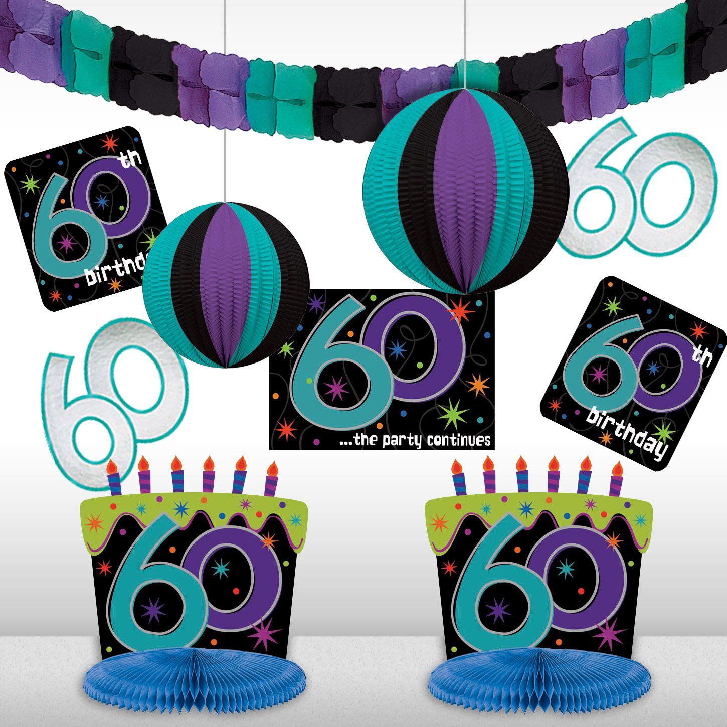 The Party Continues 60th Birthday Decorating Kit - Party Supplies