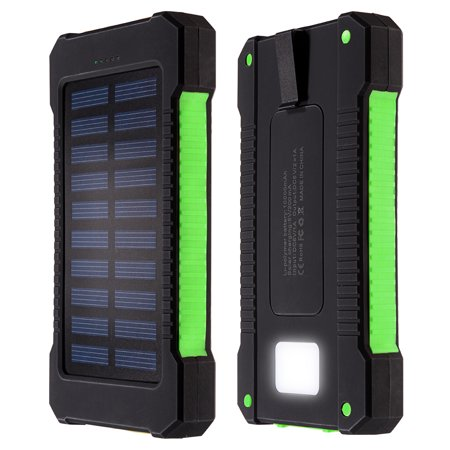10000Mahsolar Charger Dual Usb Power Bank Phone Battery Flashlight Compass Green