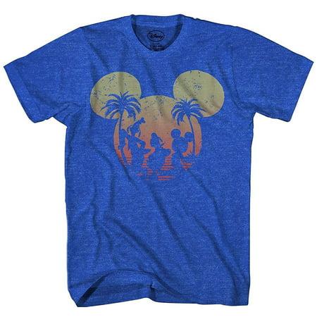 Disney Mickey Mouse Sunset Silhouette T-shirt Heather Royal - Disney Halloween Short Cartoons