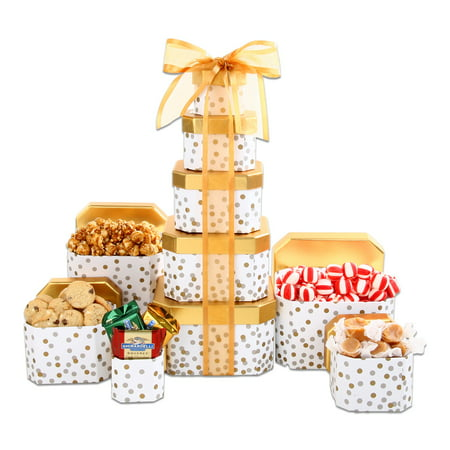 Chocolate, Candy & Popcorn filled Alder Creek Holiday Gift Basket Gold Tower, 5 pc
