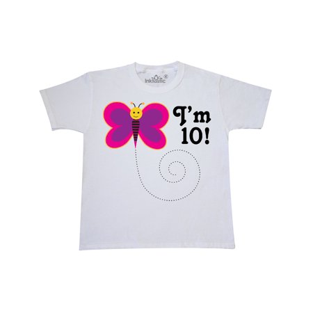 10th Birthday Butterfly 10 Year Old Youth T-Shirt (Cute Crop Tops For 10 Year Olds)