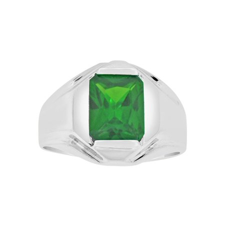 Sterling Silver White Rhodium, Classic Ring Men Guy Gent Created May Birthstone Green CZ Crystals