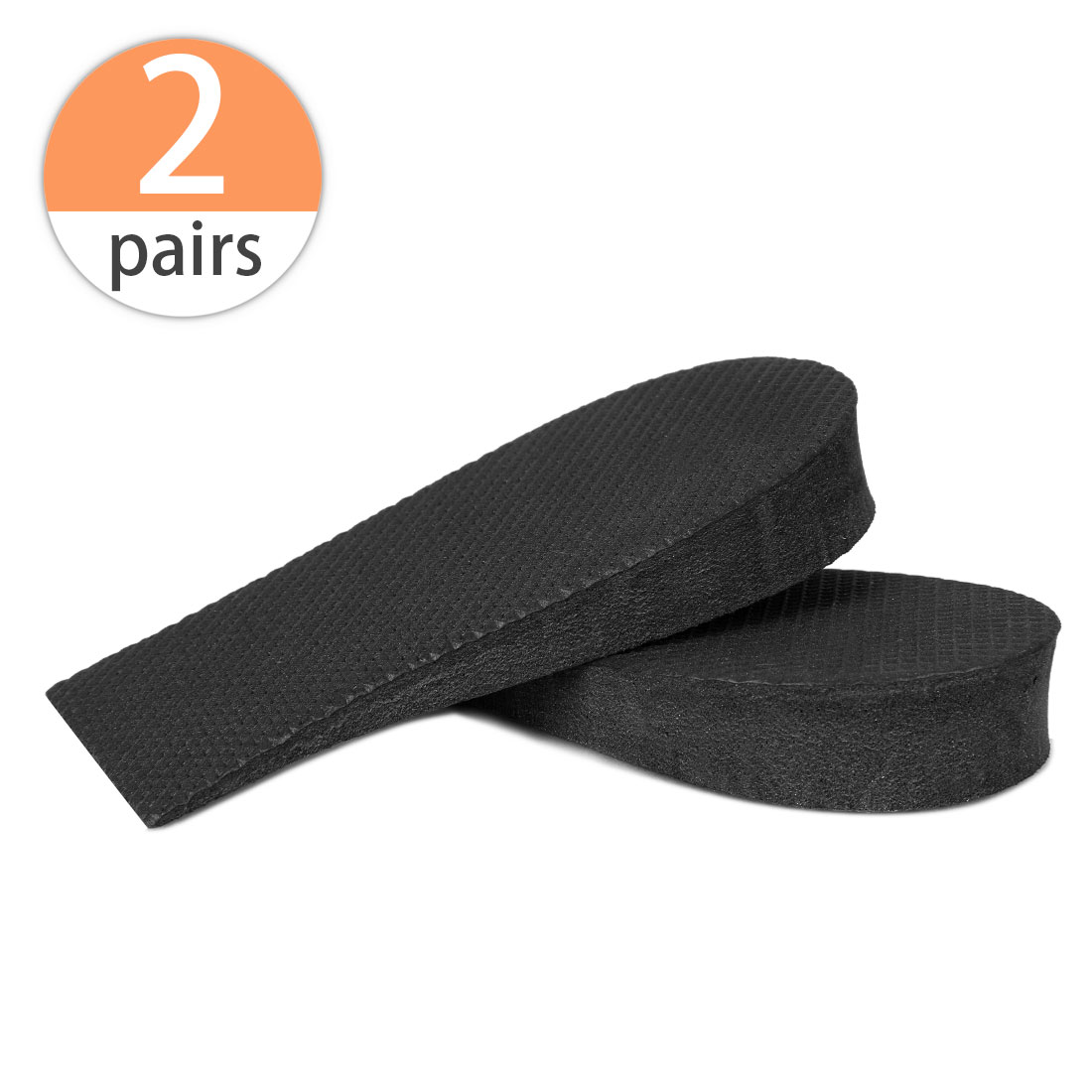 Letter Print 2cm Height Increase Insoles Heel Lift Shoes Pads 2 Pairs Black