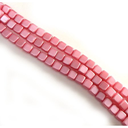 Pink 6mm Square Glass Czech Two Hole 25 Tile, Loose Beads,