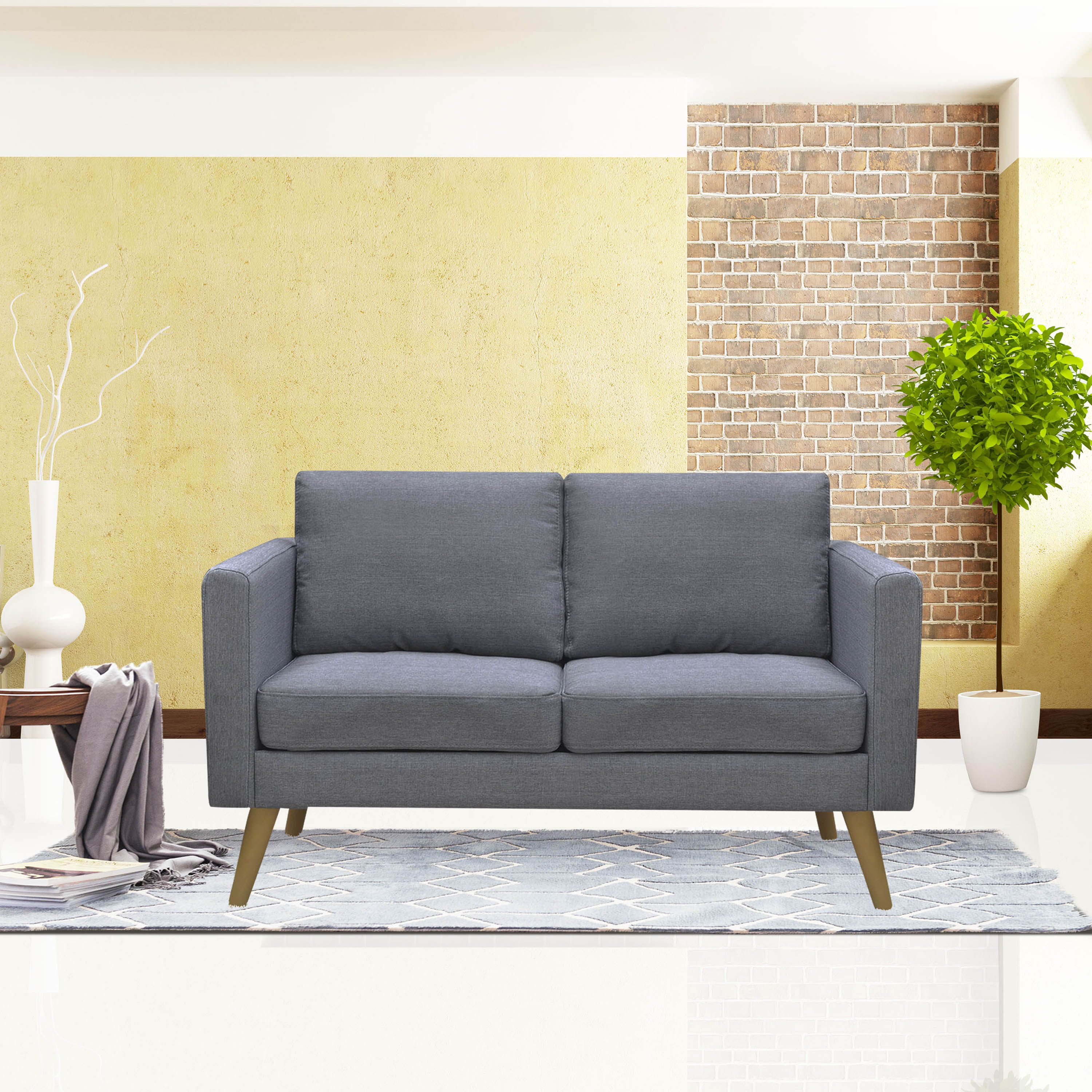 Cloud mountain linen fabric loveseat living room furniture 2 seat sofa with cushions gray walmart com
