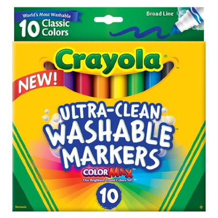 Crayola 10 Ct Ultraclean Broad Line Washable Markers  Color Max