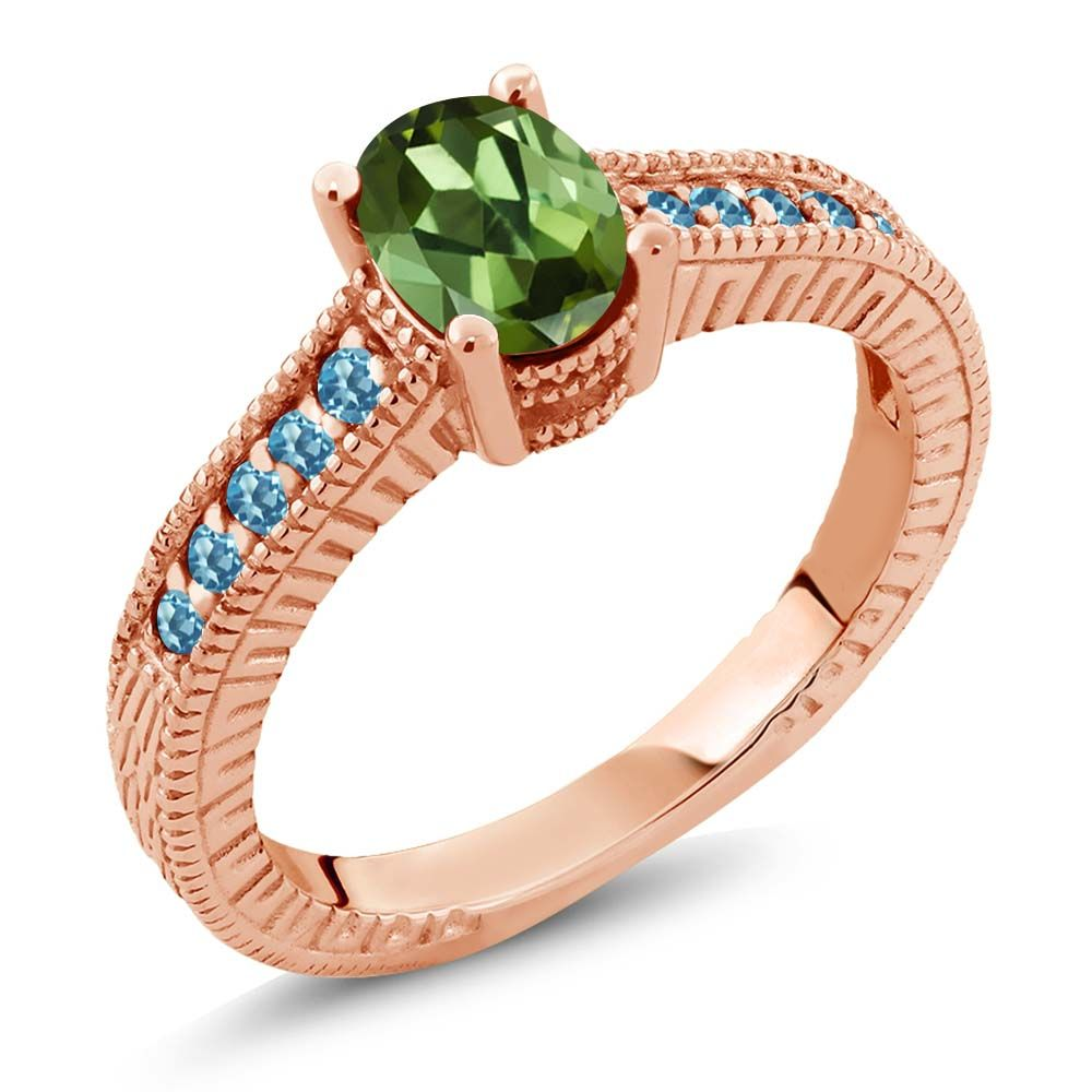 1.35 Ct Green Tourmaline and Blue Simulated Topaz 18K Rose Gold Engagement Ring by