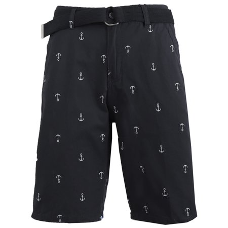Mens Flat Front Printed Cotton Shorts With Belt