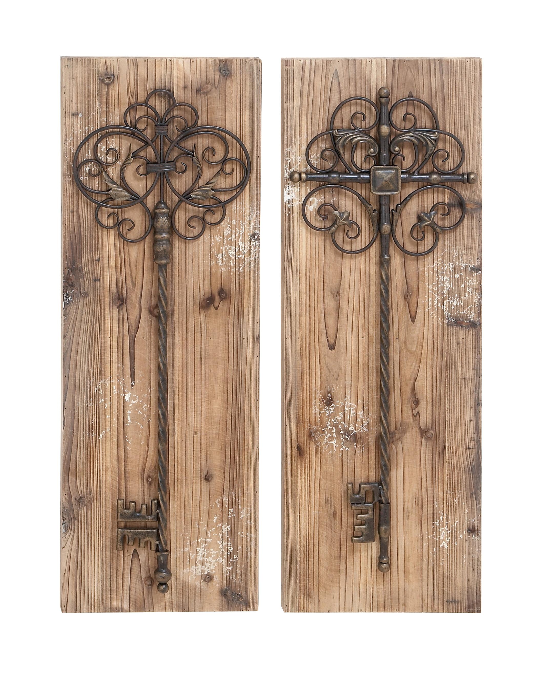Enchanting Key Door Wall Plaque In Aged Wood by Benzara