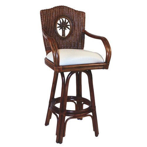 Hospitality Rattan Lucaya 30'' Swivel Bar Stool with Cushion