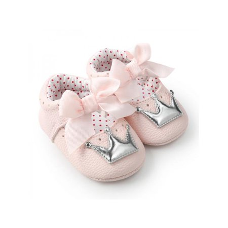 Sweetsmile Fashion Newborn Baby Girl Shoes Butterfly Crown Anti-slip Soft Sole Princess First Walker PU Crib - Yellow Polka Dot Shoes