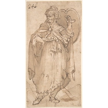Man in Turkish Costume Holding a Shield Poster Print by Anonymous 16th century (18 x - 16th Century Costumes