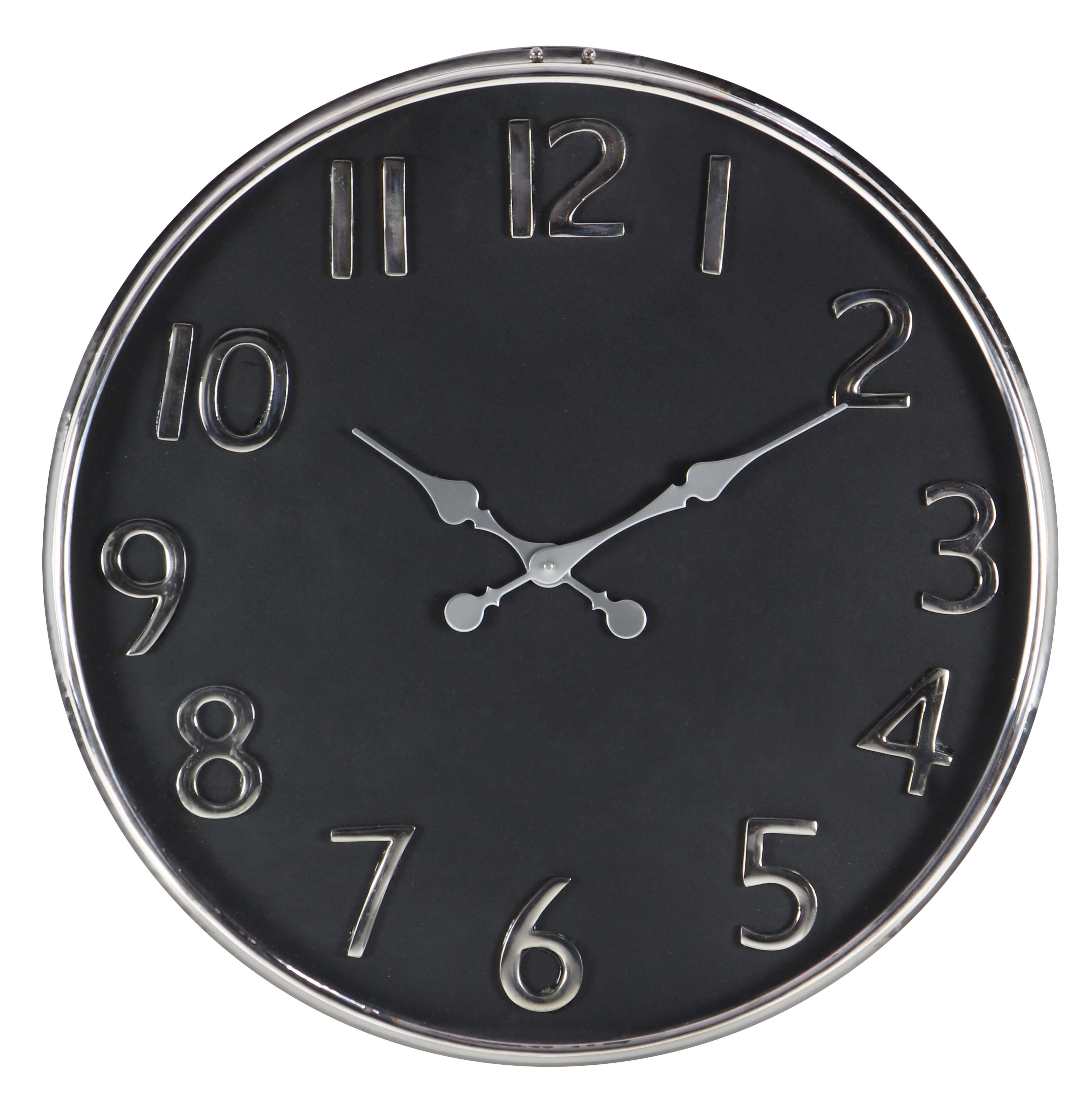 Decmode Contemporary 25 Inch Stainless Steel Round Wall Clock by DecMode