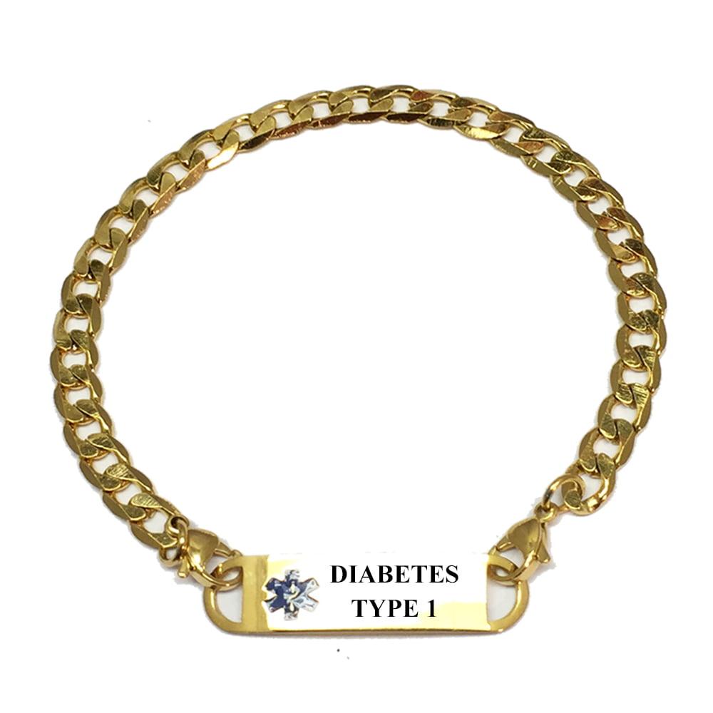 14k Yellow Gold Medical Soft Red Enamel Flat Curb Link ID 8inch Bracelet
