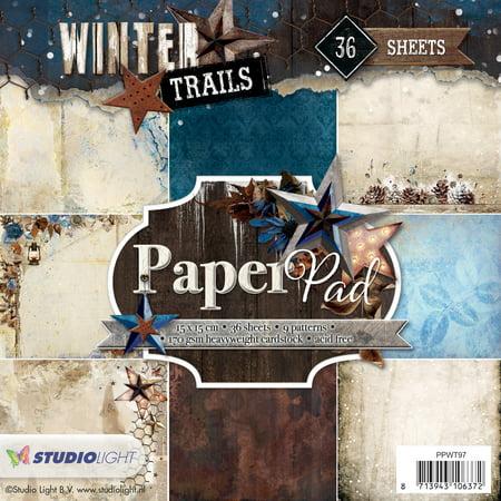 """Studio Light Paper Pad 6""""X6"""" 36/Pkg-Winter Trails, 9 Designs/4 Each - image 1 de 1"""