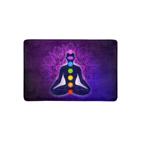 MKHERT Meditating Human in Lotus Pose Yoga Chakras Mandala Background Doormat Rug Home Decor Floor Mat Bath Mat 23.6x15.7