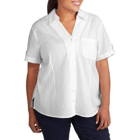 Women 39 S Plus Size Woven Button Down Camp Shirt