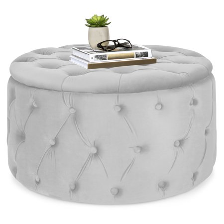 Best Choice Products 29.5in Round Modern Button-Tufted Velvet Ottoman Footrest Stool Accent Furniture, Coffee Side Table for Living Room, Bedroom w/ Wood and Foam Frame - Light Gray