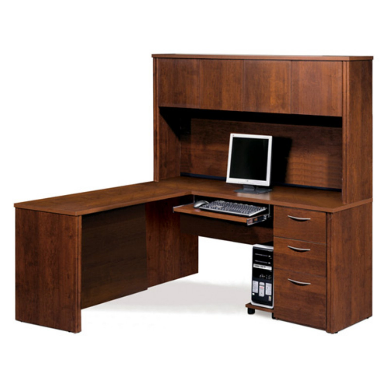 Bestar Embassy L-Shaped Workstation with Single Pedestal - Tuscany Brown